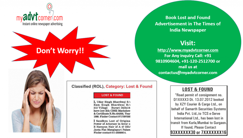 Lost and Found Advertisement Booking