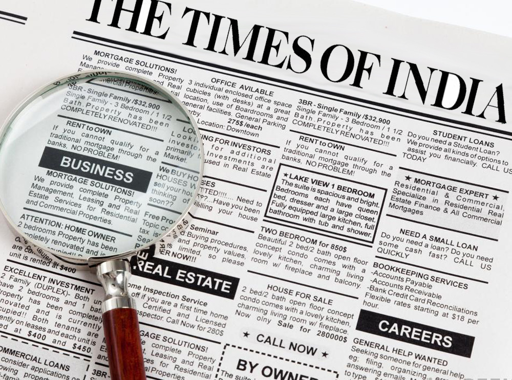 Classifieds Ads are charged per line in Times of India Newspaper. View Ad Rates for Matrimonial, Recruitment, Property for Sale, Property to Rent, Name Change, Lost and Found, Business, Obituary, Remembrance, Services, Travel, Education and other classified ads.