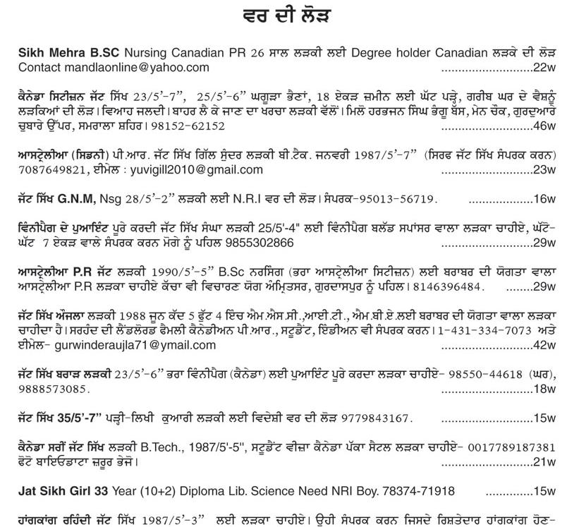 Ajit Punjabi Matrimonial Ads