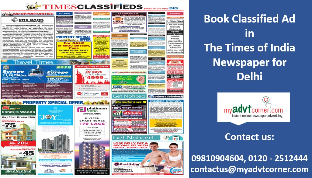 Times of India Delhi Classified Ads