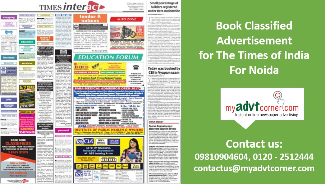 Times of India Noida Classified Ads