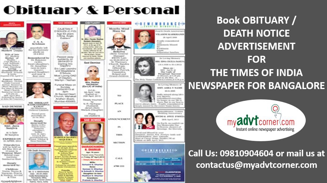 TOI Bangalore Obituary Ads