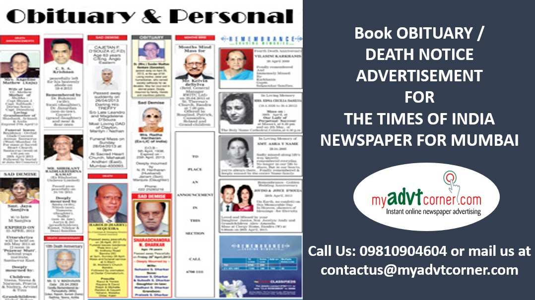 TOI Mumbai Obituary Ads