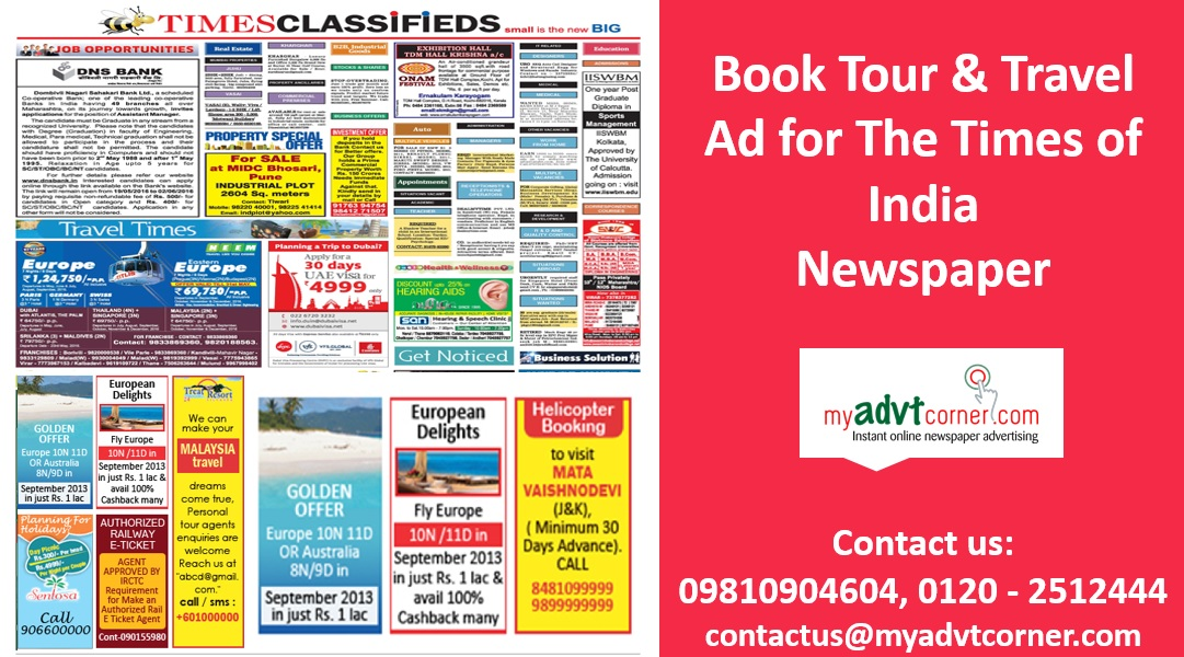 The Times of India Travel Classified Ads