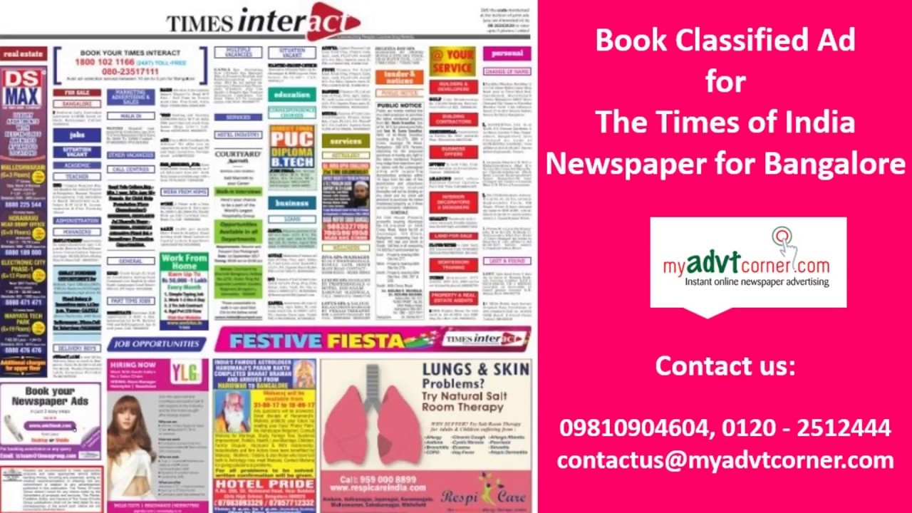 Times of India Newspaper Ads for Bangalore