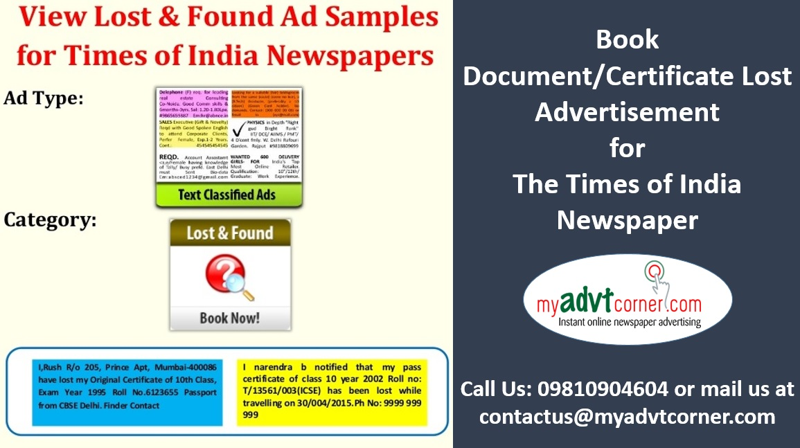 Times of India Lost and Found Ads