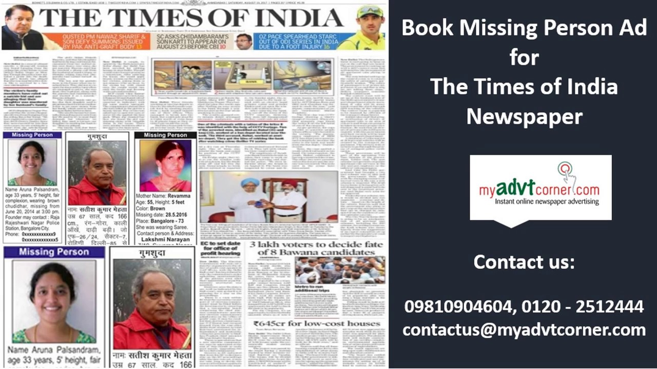 Times of India Missing Person Ads