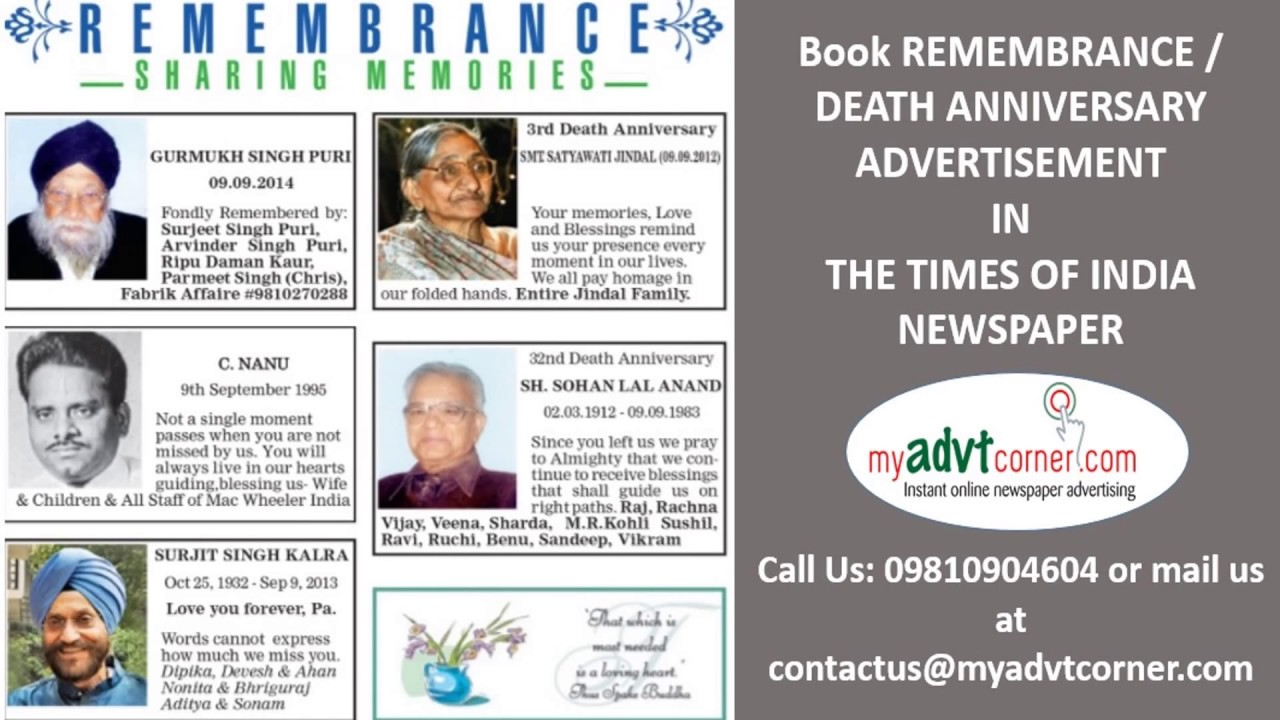 Times of India Remembrance Ads