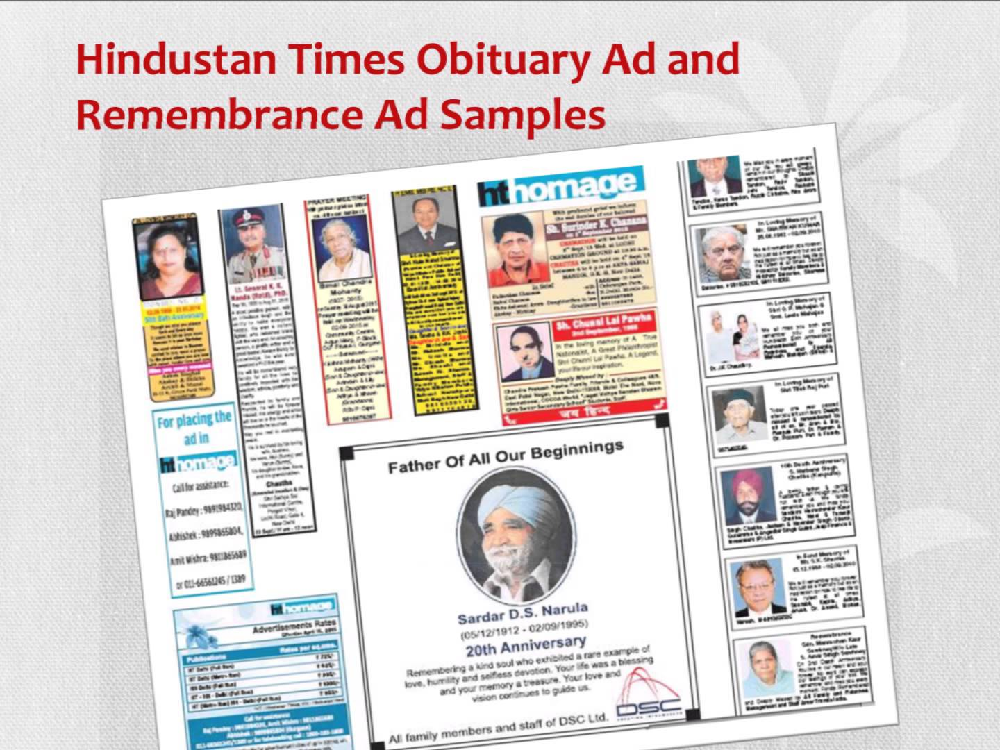 HT Obituary Advertisement