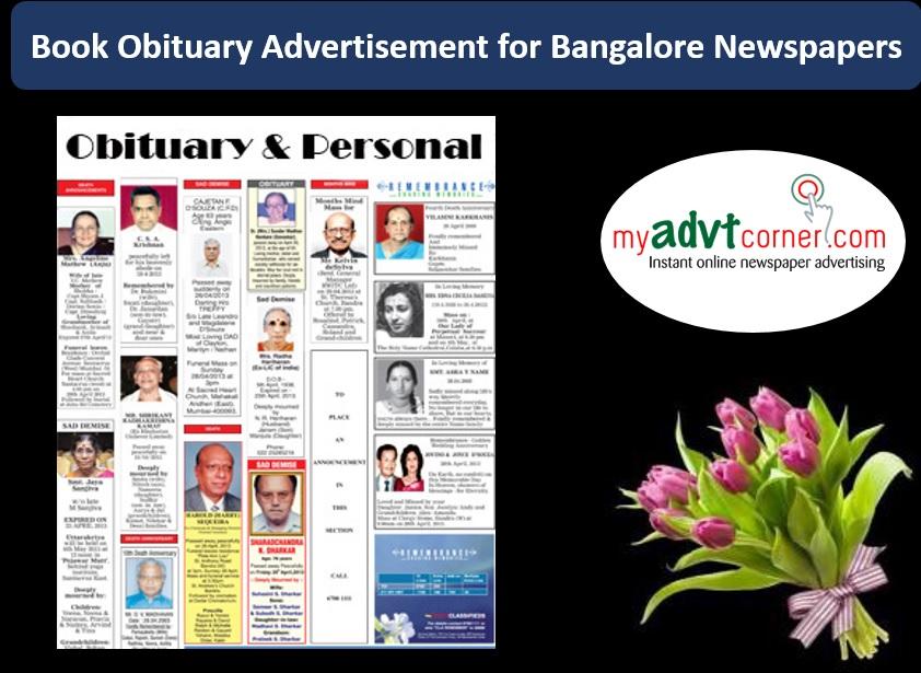 Bangalore Obituary Advertisement