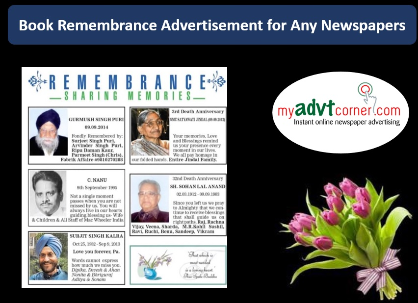 Remembrance Ads in Newspaper