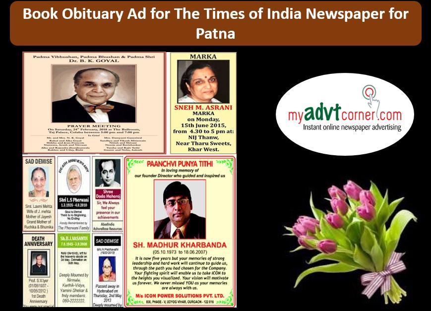 TOI Obituary Ads for Patna