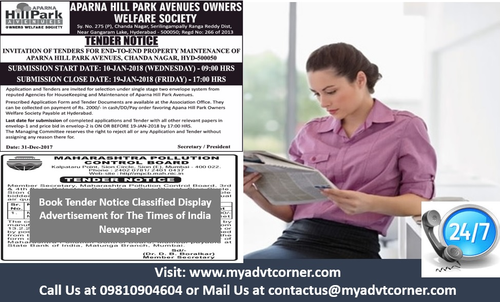 Tender Notice Ads in Times of India