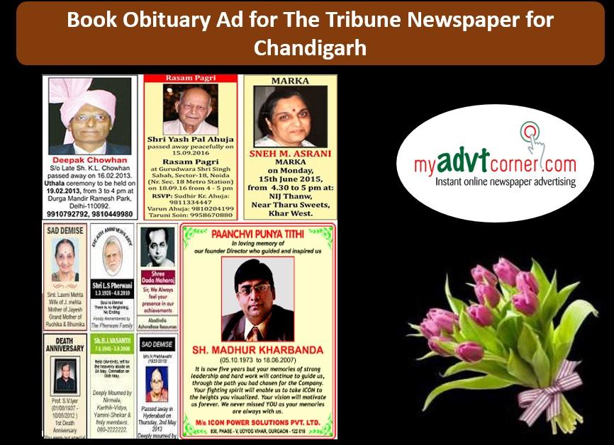 The Tribune Chandigarh Obituary Ads