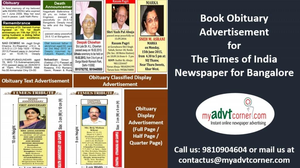 Times of India Bangalore Obituary Ads