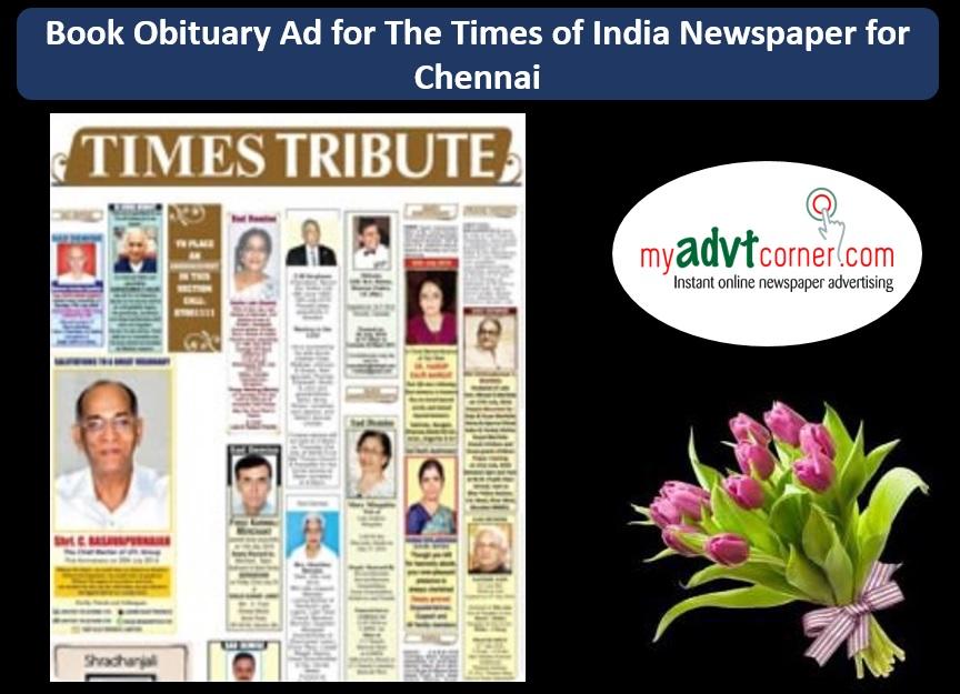 Times of India Chennai Obituary Ads