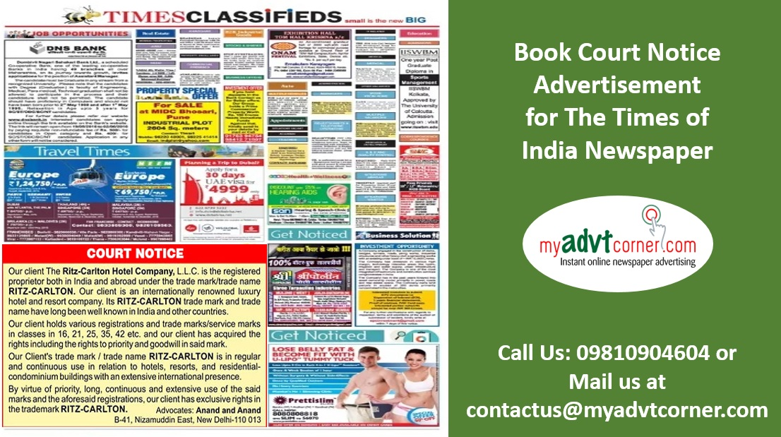 Times of India Court Notice Ads