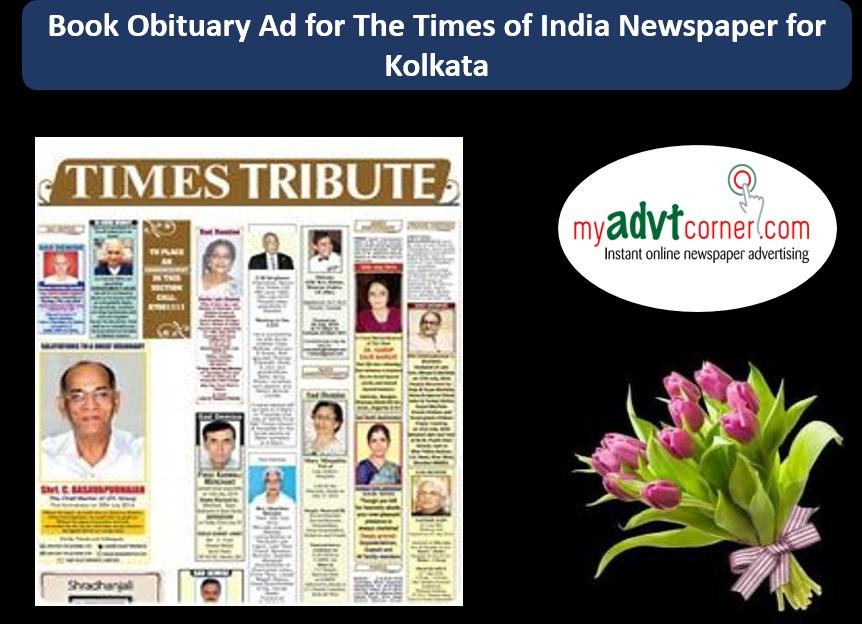 Times of India Kolkata Obituary Ads