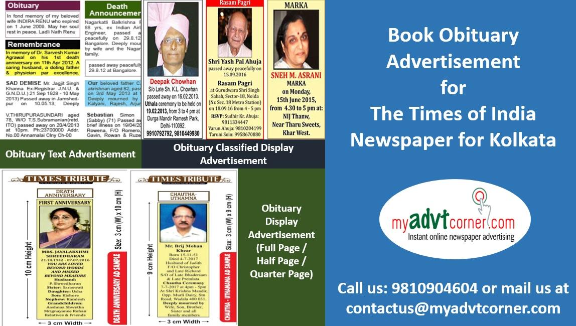 Times of India Kolkata Obituary Advertisement