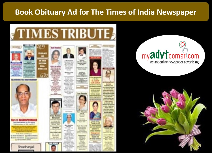 Times of India Obituary Advertisement