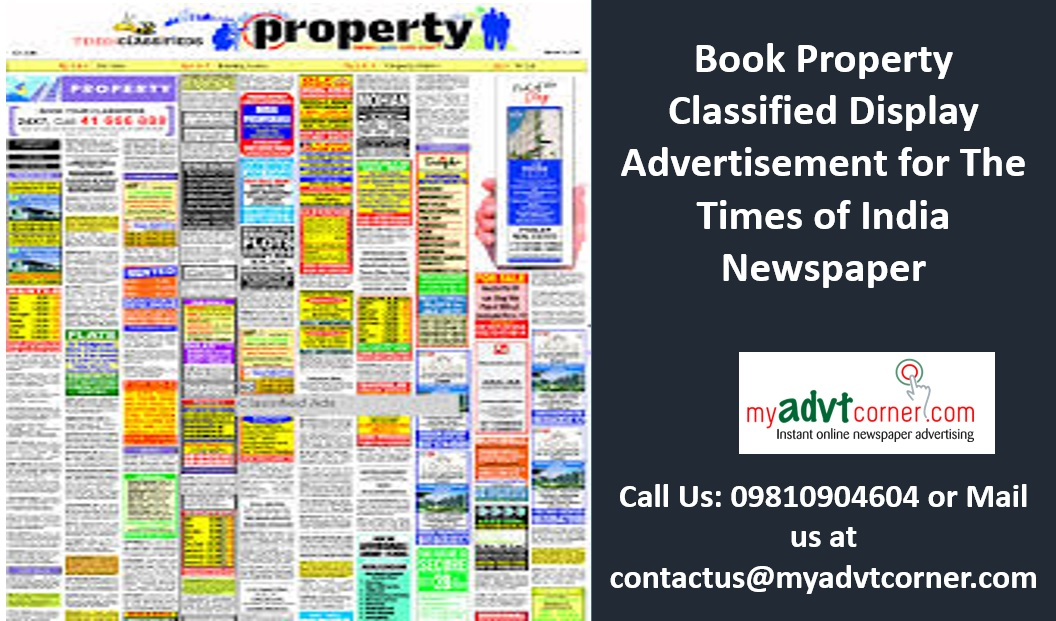 Property Classified Display Ads in Times of India