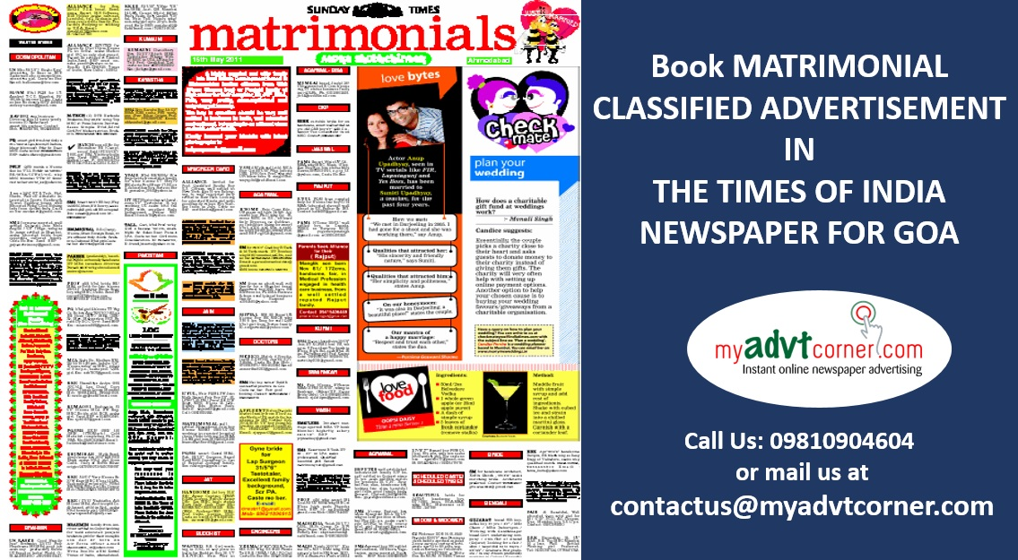 TOI Goa Matrimonial Ads