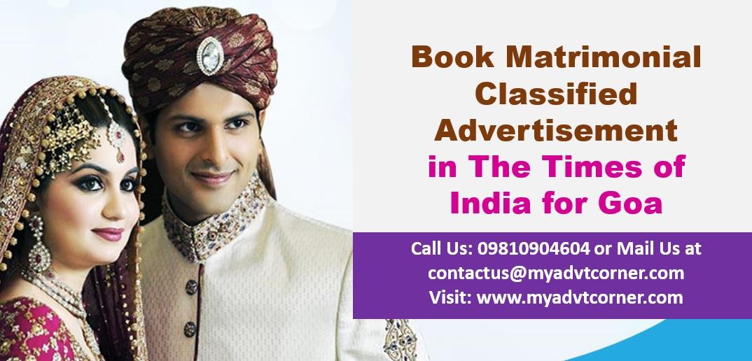 Times of India Goa Matrimonial Ads