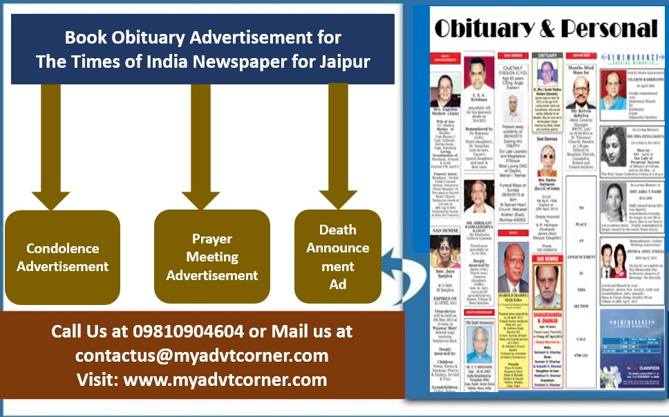 Times of India Jaipur Obituary Ads