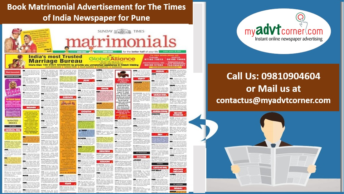 Times of India Pune Matrimonial Ads