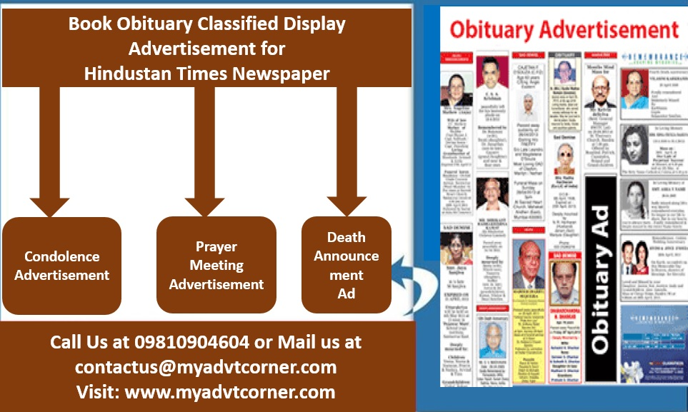 Hindustan Times Obituary Classified Display Ads