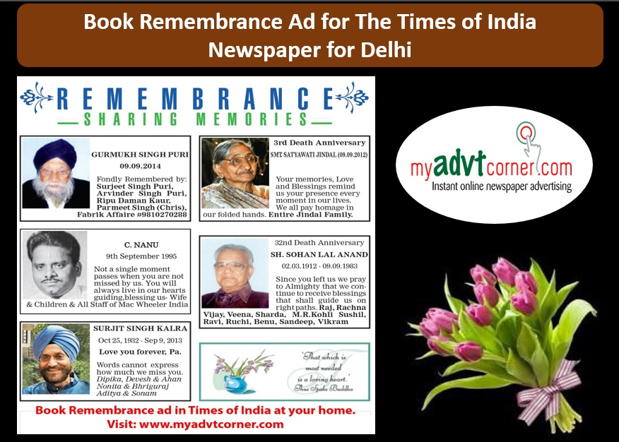 Remembrance Ads in Times of India for Delhi