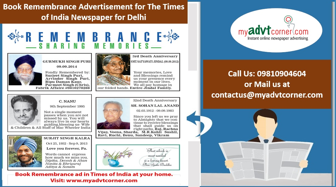 Times of India Remembrance Ads for Delhi