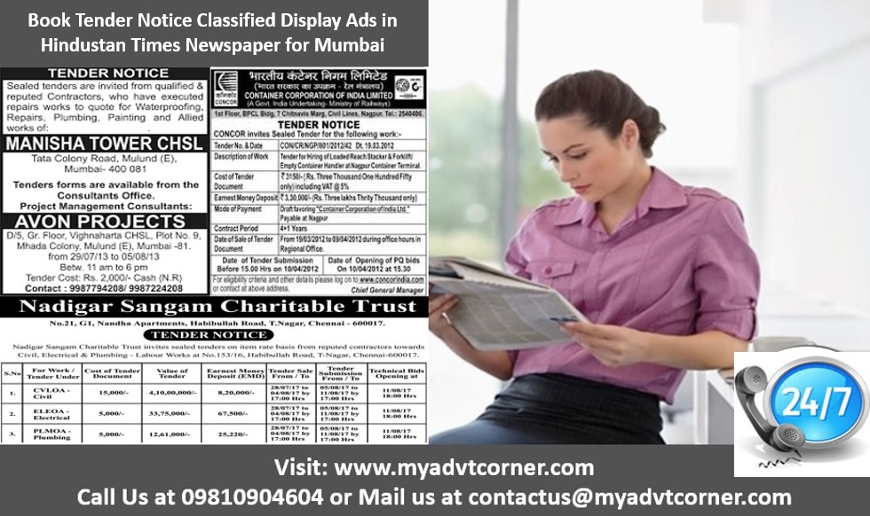 Hindustan Times Tender Notice Classified Display Ads