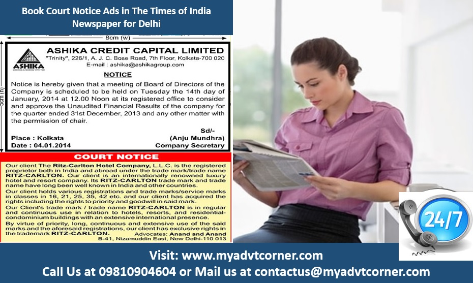 Times of India Court Notice Advertisement