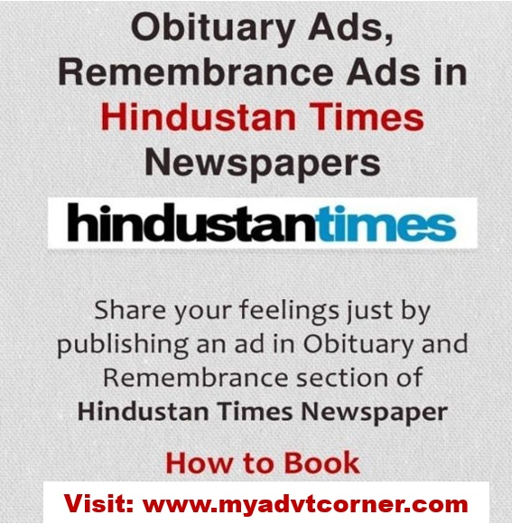 Hindustan Times Obituary Advertisement