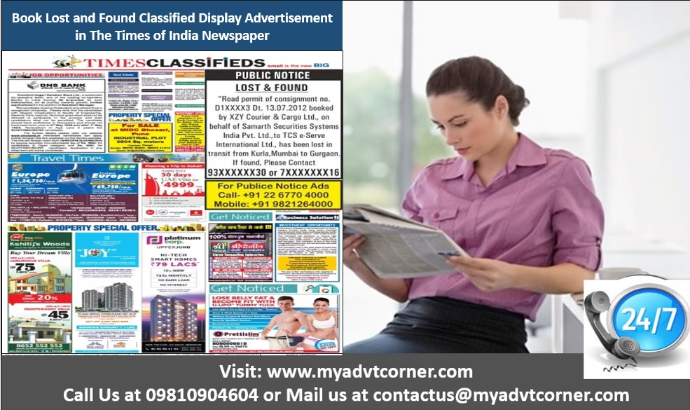 Times of India Lost Found Classified Display Ads