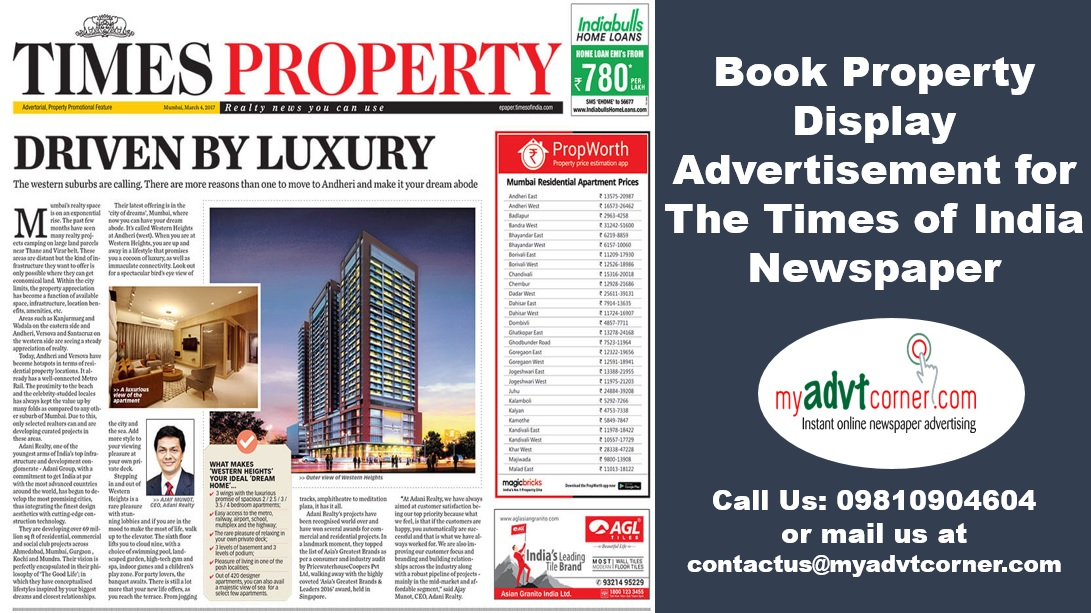 Times of India Property Display Ads
