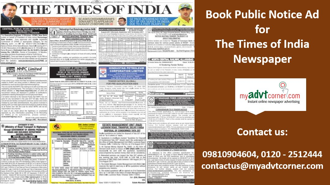 Times of India Public Notice Ads