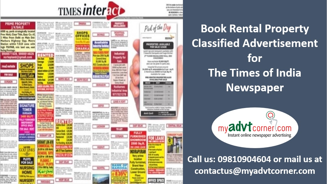 Times of India Rental Property Classified Ads
