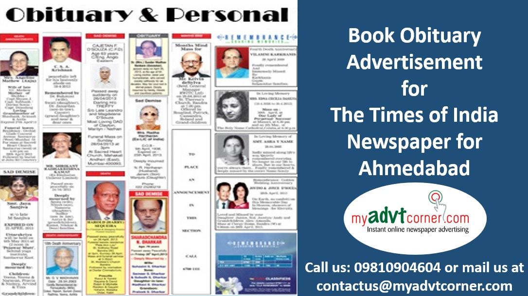 TOI Ahmedabad Obituary Ads