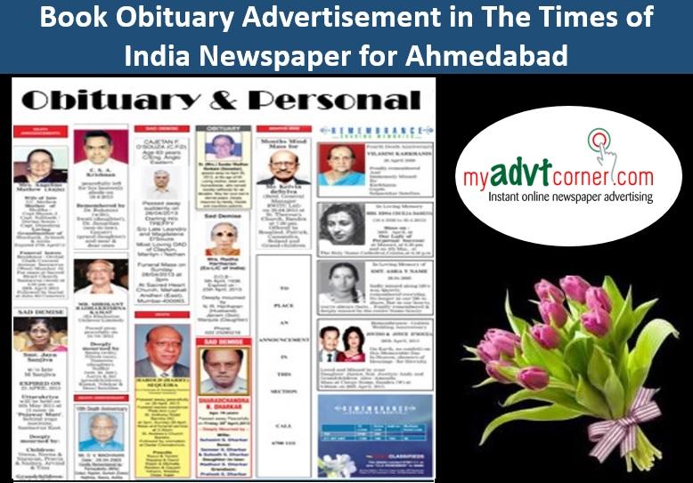 Times of India Ahmedabad Obituary Ads