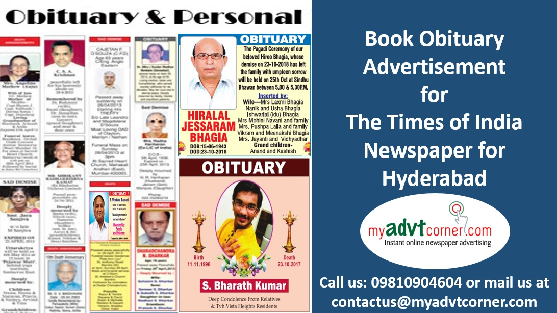 Times of India Hyderabad Obituary Advertisement