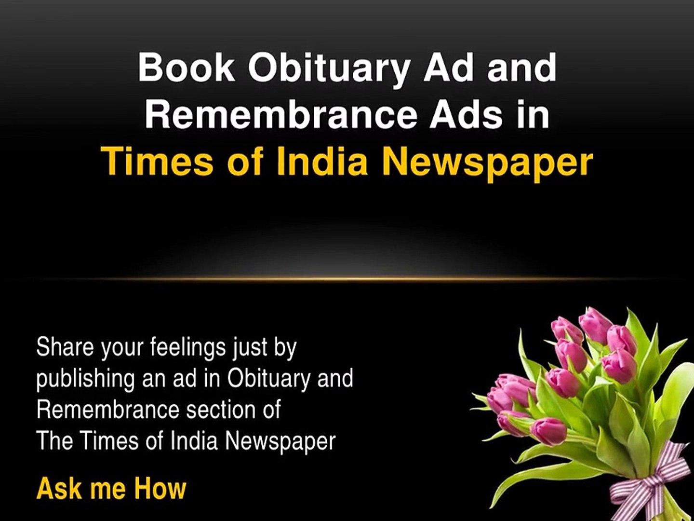 TOI Obituary Ads