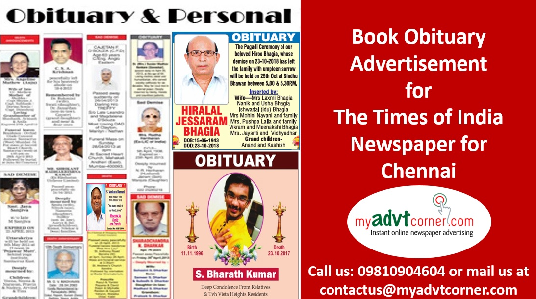 Times of India Chennai Obituary Ads