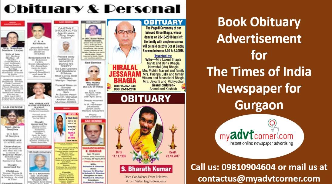 Times of India Gurgaon Obituary Ads