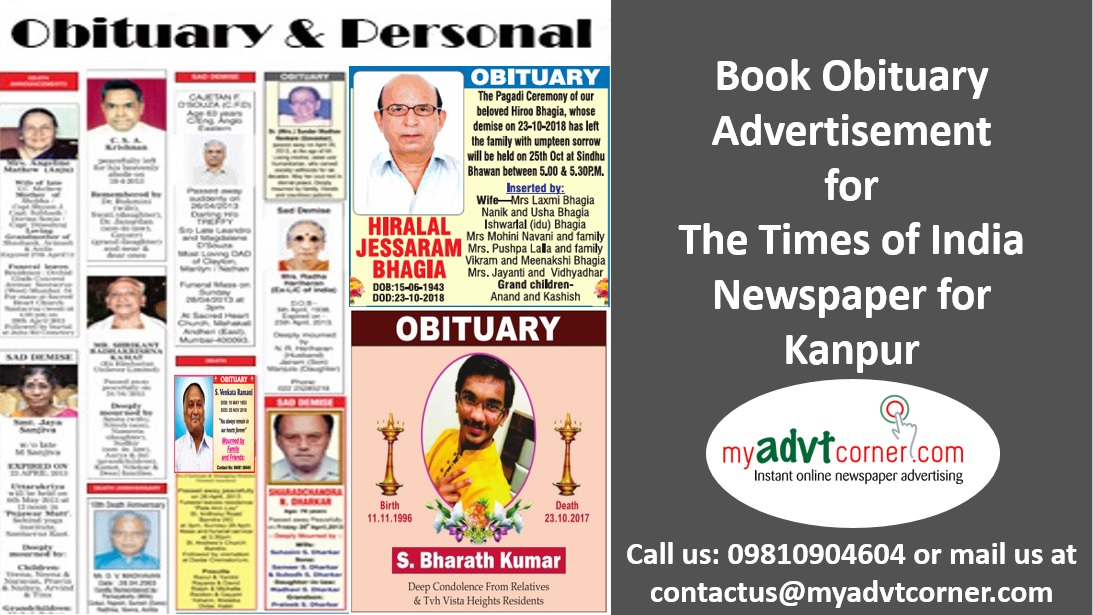 Times of India Kanpur Obituary Ads