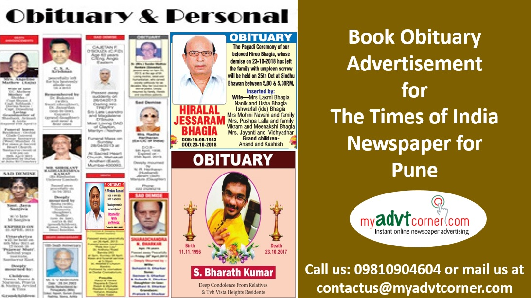 Times of India Pune Obituary Ads