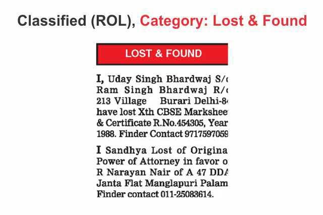 Lost Found Advertisement