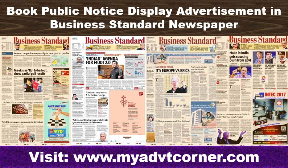 Business Standard Public Notice Display Ads
